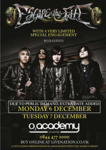 Escape The Fate @ O2 Academy - Islington, Greater London, Angleterre [07/12/2012]
