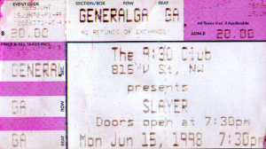 Slayer @ The 9:30 Club - Washington, D.C., Etats-Unis [15/06/1998]