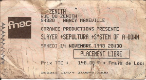 Slayer @ Le Zénith - Nancy, France [14/11/1998]