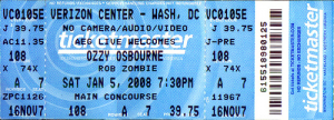 Ozzy Osbourne @ Verizon Center - Washington, D.C., Etats-Unis [05/01/2008]